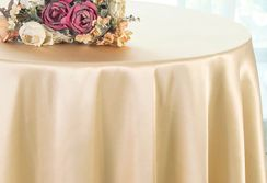 "90"" Round Satin Table Overlay - Champagne 55528 (1pc/pk)"