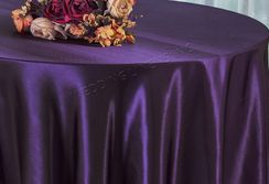 "90"" Round Satin Table Overlay - Eggplant 55545 (1pc/pk)"