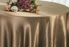 "90"" Round Satin Table Overlay - Latte 55568 (1pc/pk)"