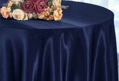 "90"" Round Satin Table Overlay - Navy Blue 55523 (1pc/pk)"