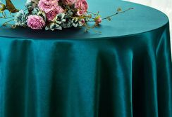 "90"" Round Satin Table Overlay - Peacock 55559 (1pc/pk)"