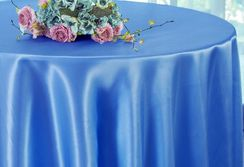 "90"" Round Satin Table Overlay - Periwinkle / Cornflower 55525 (1pc/pk)"