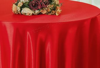 "90"" Round Satin Table Overlay - Red 55512 (1pc/pk)"