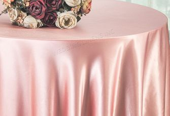 "90"" Round Satin Table Overlay - Rose 55507 (1pc/pk)"
