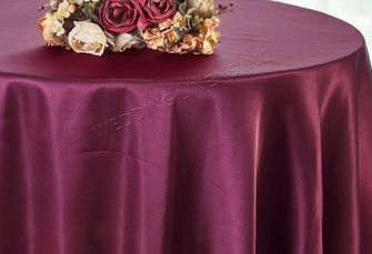 "90"" Round Satin Table Overlay - Sangria 55566 (1pc/pk)"