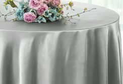 "90"" Round Satin Table Overlay - Silver 55540 (1pc/pk)"