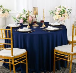 "90"" Seamless Round Scuba (Wrinkle-Free) Tablecloth - Navy Blue 20423 (1pc/pk)"