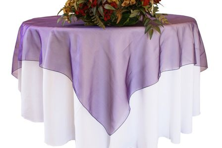 """90"""" Seamless Square Organza Table Overlays (41 colors)"""
