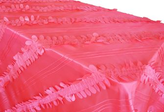 "90""x 132"" Rectangle Forest Taffeta Tablecloth - Coral 67706(1pc/pk)"
