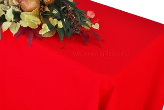 """90"""" x 132"""" Rectangle Polyester Tablecloth - Red 53212 (1pc/pk)"""