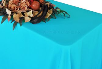 """90"""" x 132"""" Rectangle Polyester Tablecloth - Turquoise 53285(1pc/pk)"""