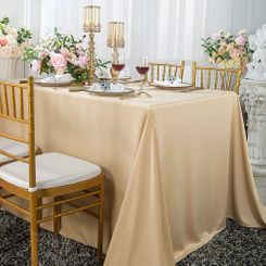 "90""x 132"" Seamless Rectangular Scuba (Wrinkle-Free) Tablecloth - Champagne 21128 (1pc/pk)"