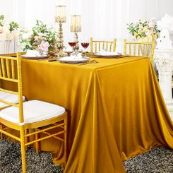 "90""x 132"" Seamless Rectangular Scuba (Wrinkle-Free) Tablecloth - Gold 21127 (1pc/pk)"