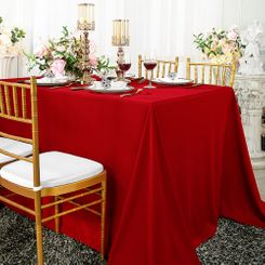 "90""x 132"" Seamless Rectangular Scuba (Wrinkle-Free) Tablecloth - Red 21112 (1pc/pk)"
