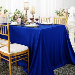 "90""x 132"" Seamless Rectangular Scuba (Wrinkle-Free) Tablecloth - Royal Blue 21122 (1pc/pk)"