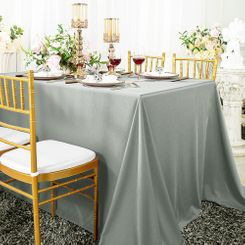 "90""x 132"" Seamless Rectangular Scuba (Wrinkle-Free) Tablecloth - Silver 21140 (1pc/pk)"