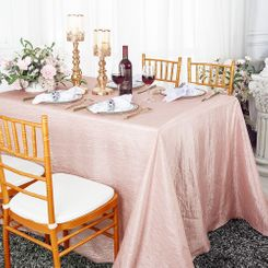 "90""x132"" Rectangle Crushed Taffeta Tablecloth - Blush Pink 61715 (1pc/pk)"