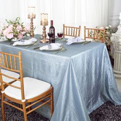 "90""x132"" Rectangle Crushed Taffeta Tablecloth - Dusty Blue 61703(1pc/pk)"