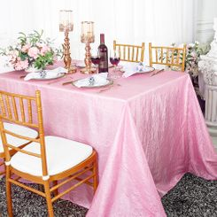 "90""x132"" Rectangle Crushed Taffeta Tablecloth - Pink 61705(1pc/pk)"