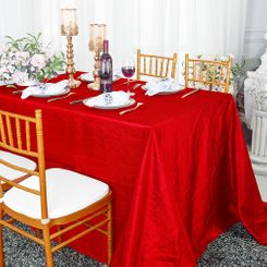 "90""x132"" Rectangle Crushed Taffeta Tablecloth - Red 61712 (1pc/pk)"