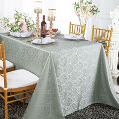 "90""x132"" Rectangular Marquis Damask Jacquard Polyester Tablecloths (12 colors)"