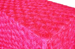 "90""x132"" Rectangle Satin Rosette Tablecloth - Fuchsia 56209 (1pc/pk)"