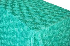 "90""x132"" Rectangle Satin Rosette Tablecloth - Tiff Blue / Aqua Blue 56218 (1pc/pk)"