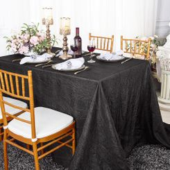 "90""x132"" Rectangle Crushed Taffeta Tablecloth - Black 61739(1pc/pk)"