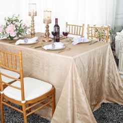 "90""x132"" Rectangle Crushed Taffeta Tablecloth - Champagne 61728(1pc/pk)"