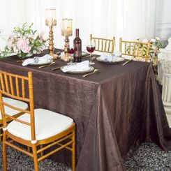 "90""x132"" Rectangle Crushed Taffeta Tablecloth - Chocolate 61791(1pc/pk)"