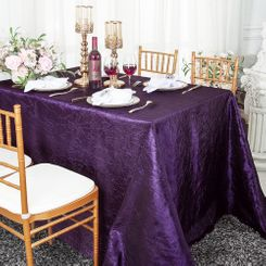 "90""x132"" Rectangle Crushed Taffeta Tablecloth - Eggpant 61745(1pc/pk)"