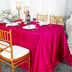 "90""x132"" Rectangle Crushed Taffeta Tablecloth - Fuchsia 61709(1pc/pk)"