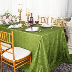 "90""x132"" Rectangle Crushed Taffeta Tablecloth - Moss Green 61717(1pc/pk)"