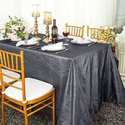 "90""x132"" Rectangle Crushed Taffeta Tablecloth - Pewter / Charcoal  61760(1pc/pk)"