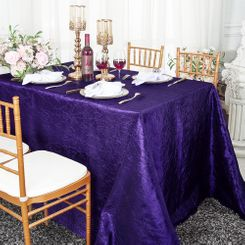 "90""x132"" Rectangle Crushed Taffeta Tablecloth - Regency Purple 61763(1pc/pk)"