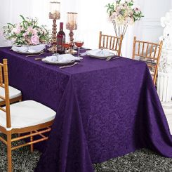 "90""x132"" Rectangle Damask Jacquard Polyester Tablecloths (14 colors)"