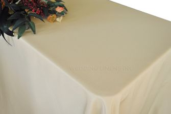 "90""x132"" Rectangle Polyester Tablecloth - Champagne 53228 (1pc/pk)"
