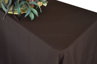 """90""""x132"""" Rectangle Polyester Tablecloth - Chocolate 53291 (1pc/pk)"""