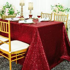 """90""""x132"""" Rectangle  Sequin Tablecloth - Apple Red 01508 (1pc/pk)"""