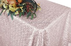 "90""x132"" Rectangle  Sequin Tablecloth - Blush Pink  01515 (1pc/pk)"