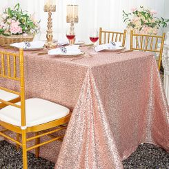 """90""""x132"""" Rectangle  Sequin Tablecloth - Blush Pink / Rose Gold 01515 (1pc/pk)"""