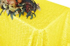 "90""x132"" Rectangle  Sequin Tablecloth - Canary Yellow 01516 (1pc/pk)"