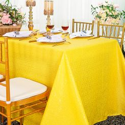 """90""""x132"""" Rectangle  Sequin Tablecloth - Canary Yellow 01516 (1pc/pk)"""