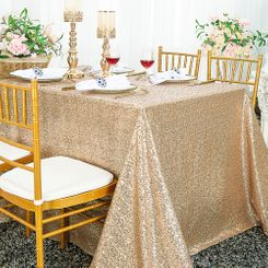 """90""""x132"""" Rectangle  Sequin Tablecloth - Champagne 01528 (1pc/pk)"""