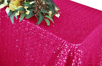 "90""x132"" Rectangle  Sequin Tablecloth - Fuchsia 01509 (1pc/pk)"