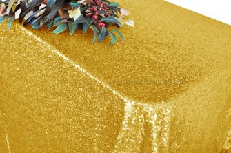 """90""""x132"""" Rectangle  Sequin Tablecloth - Gold 01527 (1pc/pk)"""