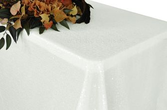 "90""x132"" Rectangle  Sequin Tablecloth - Ivory 01502 (1pc/pk)"