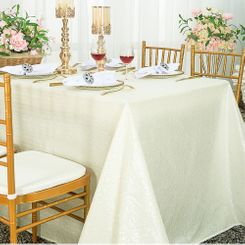 """90""""x132"""" Rectangle  Sequin Tablecloth - Ivory 01502 (1pc/pk)"""