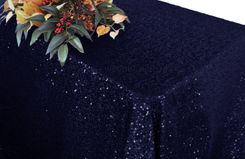 "90""x132"" Rectangle  Sequin Tablecloth - Navy Blue 01523 (1pc/pk)"