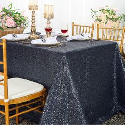 """90""""x132"""" Rectangle  Sequin Tablecloth - Pewter / Charcoal 01560 (1pc/pk)"""